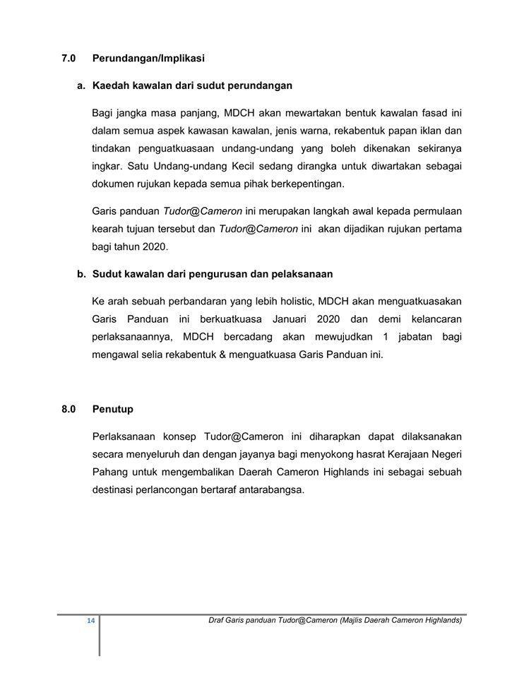 DRAF GARIS PANDUAN PERANCANGAN & PEMULIHARAAN BANDAR & KAWASAN BERKONSEP TUDOR (TUDOR@CAMERON)