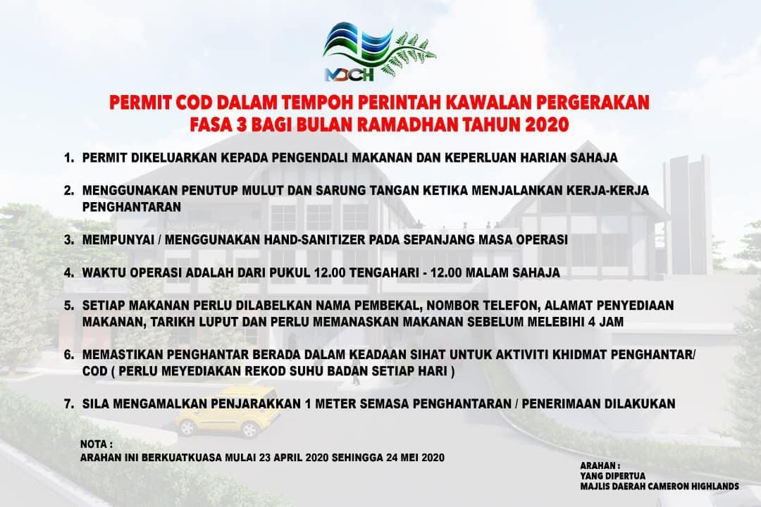PERMIT COD DALAM TEMPOH PKP FASA 3 BAGI BULAN RAMADHAN TAHUN 2020